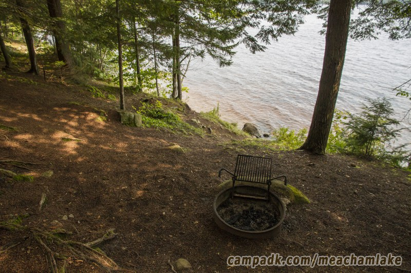 Campsite Photo of Site 186 at Meacham Lake Campground, New York - Fireplace View