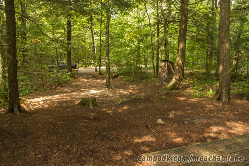 Campsite Photo of Site 186 at Meacham Lake Campground, New York - Looking Back Towards Road