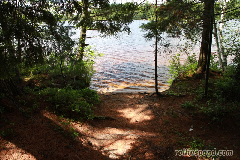 Campsite Photo of Site 213 at Rollins Pond Campground, New York - Pathway Down to Water