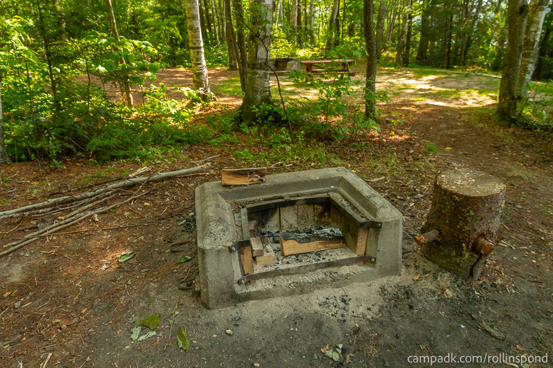 Campsite Photo of Site 13 at Rollins Pond Campground, New York - Fireplace View
