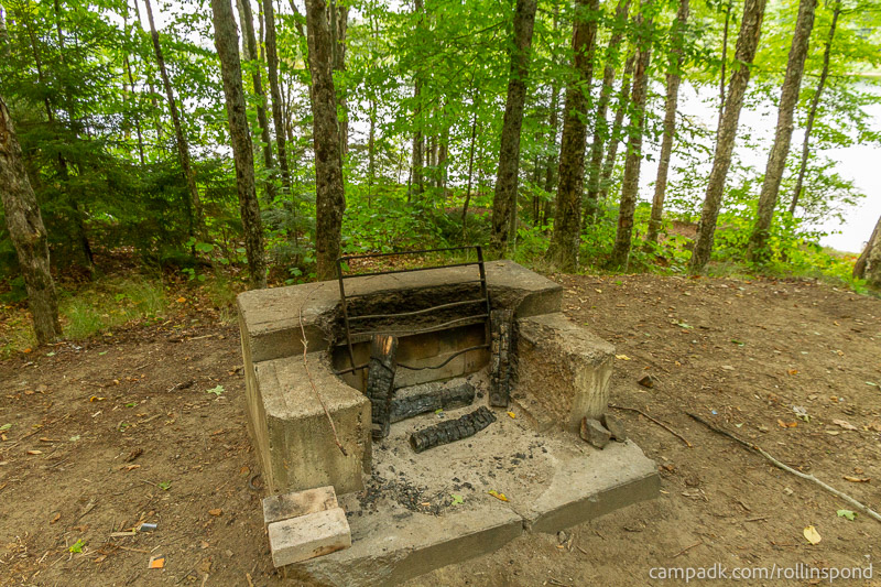 Campsite Photo of Site 50 at Rollins Pond Campground, New York - Fireplace View