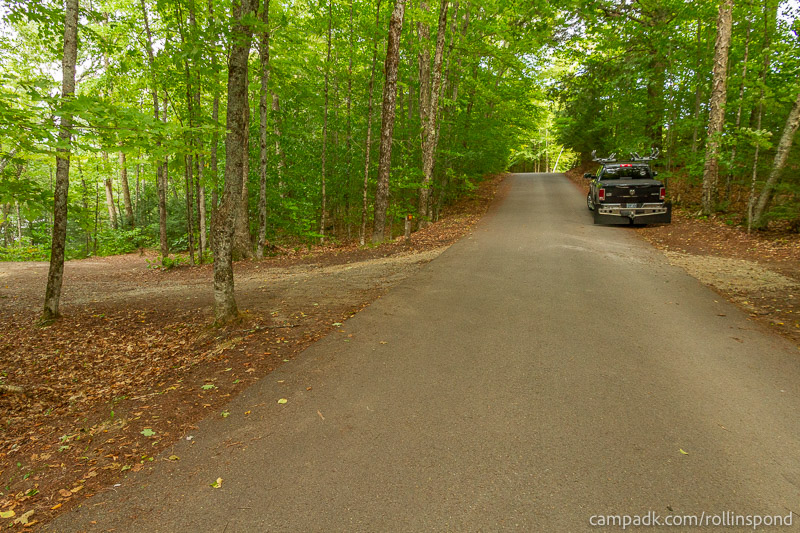 Campsite Photo of Site 50 at Rollins Pond Campground, New York - View Down Road from Campsite